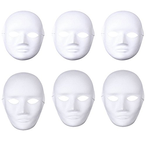 Soochat White DIY Mask,Halloween Mask, Full Face Mask,Dance Cosplay Masquerade Party Mask (3pcs Male and 3pcs (Hip Hop Dancer Halloween Costumes)