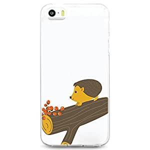 TPU Case for iPhone 5/5s - Summer Hedgehog on Log (White)