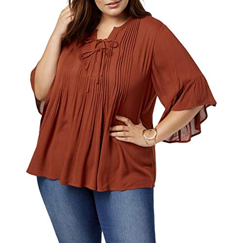 Style & Co Plus Size Pintucked Ruffled Peasant Top in Rich Auburn Orange (2X)