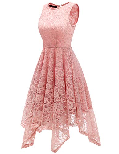 Pizzo Party Abito Rosa Vestito Senza Dance Donna Abiti matrimonio Dresstells Maniche Da Asimmetrico Pizzo Cocktail Pqa0Yfxfw4