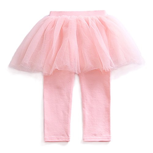 (YOHA Baby Girls Tulle Tutu Pants Culotte Autumn Toddler Bottom Leggings Dress Pink,80 )