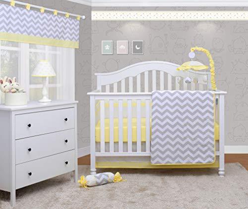 OptimaBaby Yellow Grey Chevron 6 Piece Unisex Baby Nursery Crib Bedding Set ()