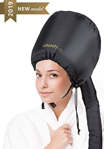 Bonnet Hood Hair Dryer Attachment - Soft Adjustable Hooded Bonnet for Hand Held Hair Dryer - Mask Cap for Drying Styling Curling Deep Conditioning - Soft Adjustable Large hood bonnet with Stretchable