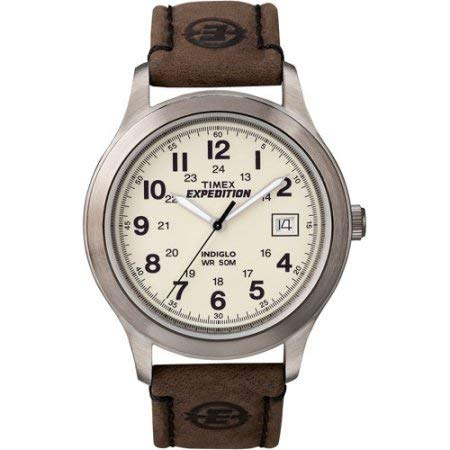 Timex T49870 Mens Expedition Metal Field Watch, Brown Leather - Indiglo Meter 50