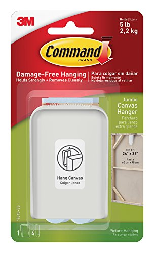 Command Jumbo Canvas Hanger, 1-Hook, 4-Large Strips (Jumbo Hanging)