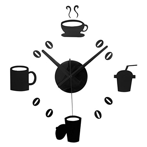 JustNile DIY 3D Wall Clock Display - Black Coffee and