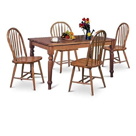 LARGE Dark Oak 5 Piece Dining Set W Farmhouse Table U0026 4 Arrow Back Chairs