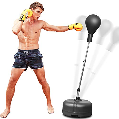 OppsDecor Reflex Speed Bag Punching Bag Free Standing Boxing Bag with Adjustable Height & Reinforced Spring Strong…