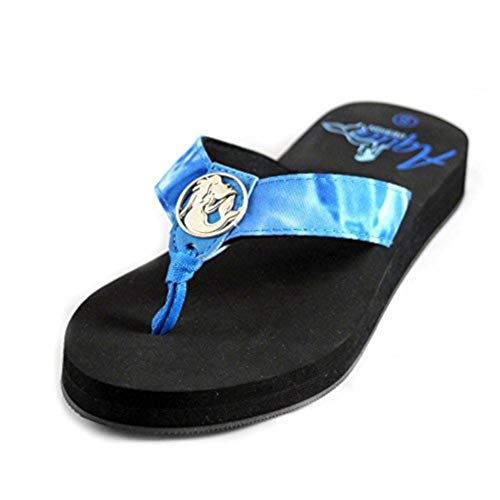 Aqua Design Flip Flops for Women: Superior Comfort Beach Womens Sandals: Royal Ripple/Black: Size 7