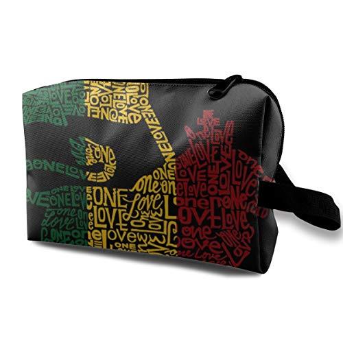 Print Train Case - Rasta Reggae Rastafarian Flag Lion King Black Makeup Case Women Cosmetic Train Case Holder - Multi-Purpose Clutch Bag Pen Pencil Holder, Makeup Pouch for Makeup Brushes Pencil Lipstick Trip Bills