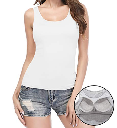 KIWI RATA Camisoles for Women with Built in Bra, Summer Sleeveless Shirt Casual, Comfortable Padded Bra Women cami for Yoga, Wide Straps Tank Top White S ()