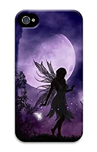 3D Hard Plastic Case for iPhone 4 4S 4G,Moonlight Fairies Case Back Cover for iPhone 4 4S
