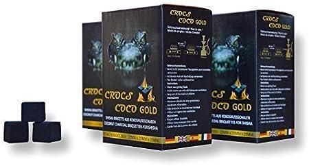 Cross Coco Gold I carbón para shisha I carbón de coco con larga duración I pocas cenizas I baja generación de humo I carbón natural sostenible I Cubo de shisha con calidad premium I 10 kg