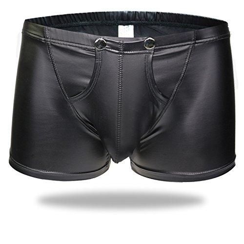 Men's Boxer Briefs Faux Leather Underwear Buckled Pouch Bikini Shorts Pants (XL, -