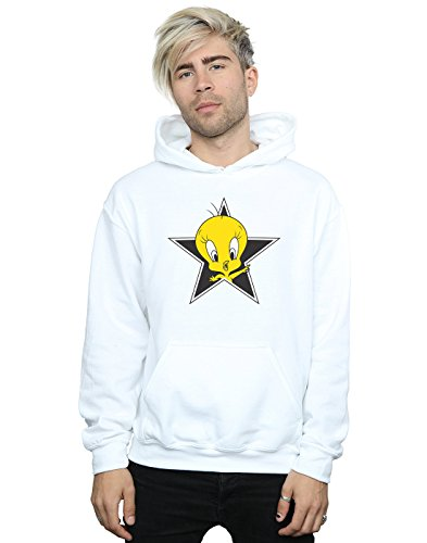 (Looney Tunes Men's Tweety Pie Star Hoodie Large White)