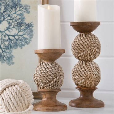 Set of 2 Robe Ball Candle Holders for 3'' Pillar Candles Home Decorative Accessory