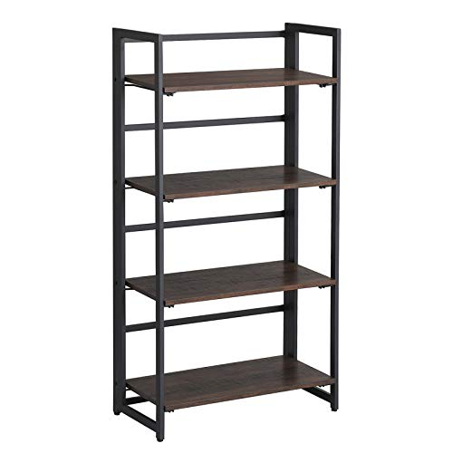 VASAGLE Industrial Folding Bookshelf, 4-Tier Bookcase, Multifunctional Shelving Unit, Easy Assembly, with Metal Frame, Rustic Dark Brown ULLS88BF