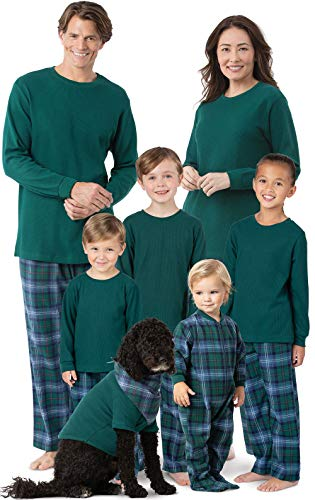 PajamaGram Christmas Pajamas for Family - Cotton Flannel Plaid, Green, Men's, LG