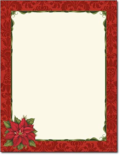 Poinsettia Damask Holiday Stationery - 80 Sheets