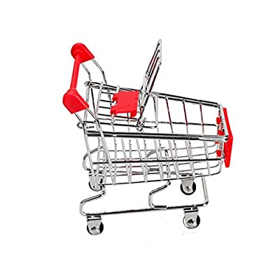 Acoolstore Baby Kids Simulation Mini Shopping Cart Toys Handcart Supermarket Storage Basket Trolley Toy Mini Shopping Cart Desktop Trolley (NO.1): Toys & Games
