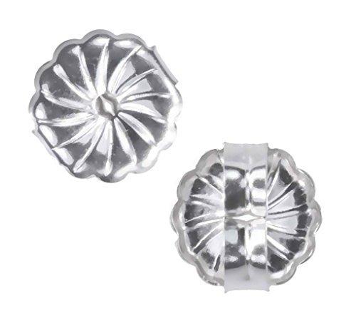 uGems 14K White Gold Swirl Earring Backs Premium Medium 7mm (1 Pair) ()