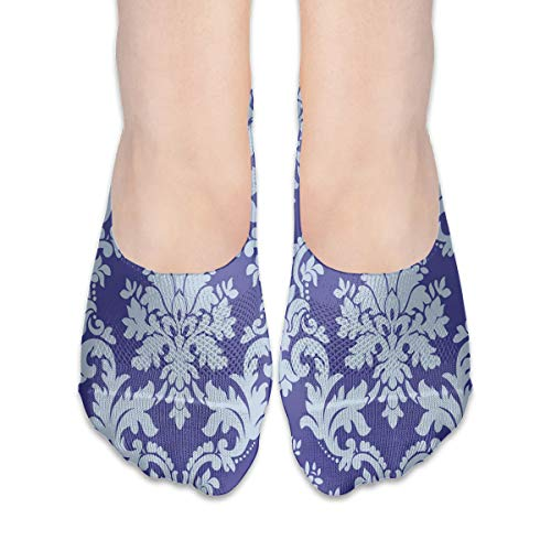 No Show Socks Purple Damask Pattern Trendy Womens Low Cut Sock Short Invisible Socks for Girl