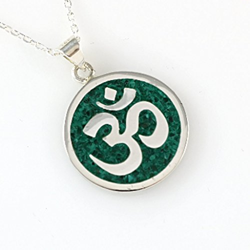 Necklace Mosaic Pendant - Sterling Silver Round Natural Green Malachite Mosaic OM OHM AUM Pendant Necklace 16+2'' Chain