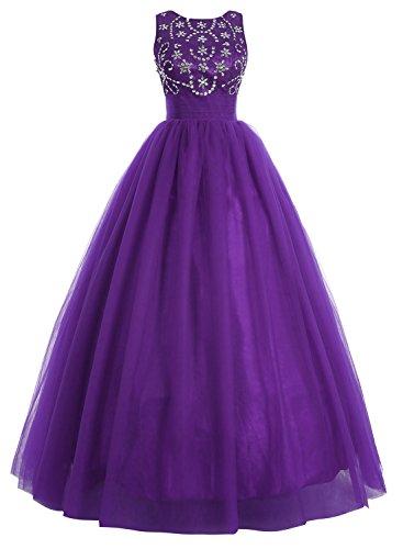 Bbonlinedress Vestido De Fiesta Largo Boda Noche Con Cuentas Tul Falda Con Gran Volumen Violeta