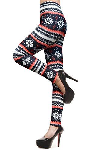 Christmas Leggings for Women Snowflake Printed Fashion Stretchy Leggings,Deer ()