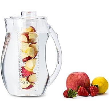 Kuuk Fruit Infusion Pitcher - BPA Free Acrylic - 93Oz / 2.9 Quart