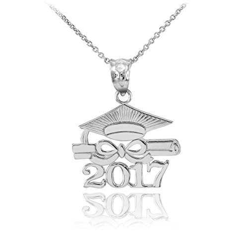 925 Sterling Silver Diploma & Cap Charm 2017 Graduation Pendant Necklace, 18