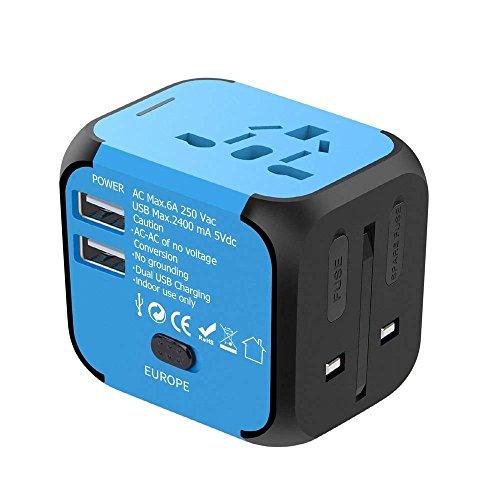 Adaptador universal de viaje, YOMYM International Cargador de viaje Adaptador de corriente con cargador USB dual, todo en uno...