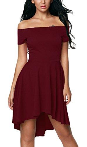 Hikong Vestido Corto de Mujer Verano Fuera de Hombro Mangas Cortas Traje Elegante de Fiesta Cóctel Irregular rojo de vino tinto