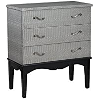 Powell 14A2077 Flossie Croc 3-Drawer Chest, Silver
