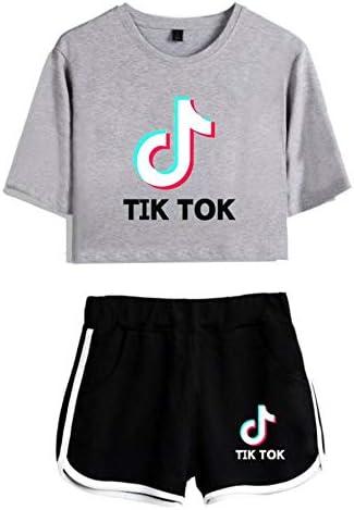 Tik TOK Girls Mai Trendy Letter Logo Kurzarm Sommer Loose Wild Top und Shorts T-Shirt Set Fitnessstudio Laufen Fitness Sportswear Casual Yoga Wear Pyjamas