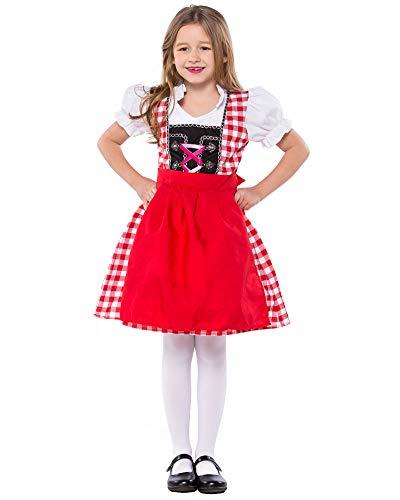 yolsun Oktoberfest Halloween Costume for Girls Dirndl Bavarian Dress up (M, Red)