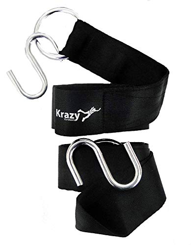 Krazy Outdoors Hammock Tree Straps - 11 Feet Long Heavy Duty Adjustable Polyester Seatbelt Quality - 1000lbs Capacity - Suspension Hanging Kit 2 S-Hooks & O-Rings - Won't Stretch Like Nylon (Black) ()