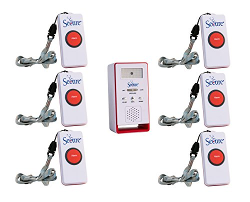 Secure SWCB-1 Wireless Remote Nurse Alert System - 6 Patient Call Buttons and 1 Caregiver Pager - 500 Ft Range … (6 Transmitter Set) -  Personal Safety Corporation, SWCB-1_SET-6