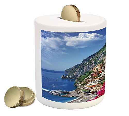 Flower Pink Bank (Ambesonne Italy Piggy Bank, Scenic View of Positano Amalfi Naples Blooming Flowers Coastal Village Image, Printed Ceramic Coin Bank Money Box for Cash Saving, Pink Green Blue)