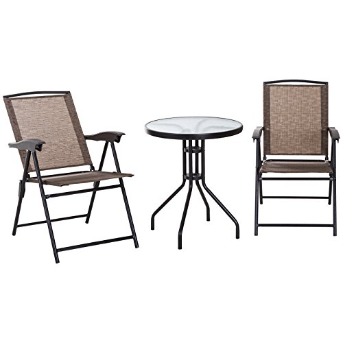 Cheap  Outsunny 3 Piece Outdoor Patio Dining Bistro Table and Folding Arm Chair..
