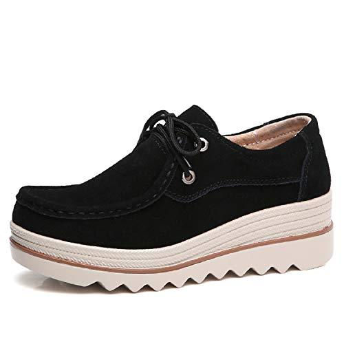 Negro Negro1 Verano Azul Zapatos Plataforma Casual Cuña LILY999 Plataforma Zapatos de 467935