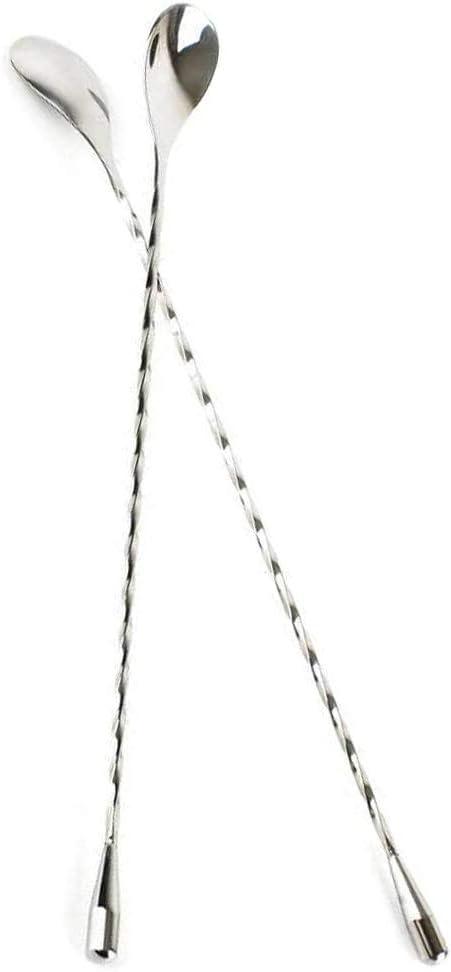 SSINI 30,5 cm Edelstahl Cocktail R/ührl/öffel Spiralmuster Bar Cocktail R/ührer L/öffel silber