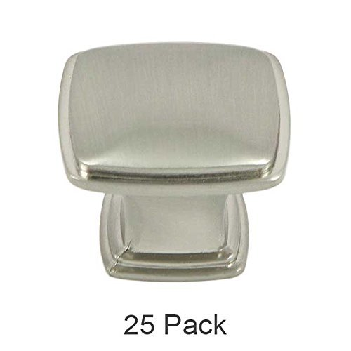 - 25 Pack of Brookwood Brushed Satin Nickel Cabinet Hardware Square Pyramid Deco Knobs