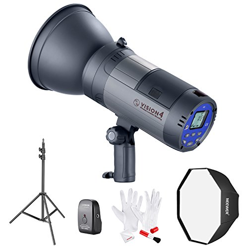 Neewer Vision 4 Powered Outdoor Studio Flash Strobe (700 Full Power flashes) with Softbox, Light Stand and Cleaning Kit for Video Location Photography