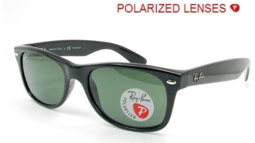 Ray-Ban rb2132 Unisex New Wayfarer Polarized Sunglasses, Black/Crystal Green, - Wayfarer New Prescription