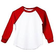 Red Long Sleeve Raglan Baseball T-Shirt