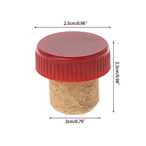 - LANDUM T-Shape Red Wine Stoppers Cork Bottle Plug Kitchen Bar Tool Sealing Cap Corks-Red