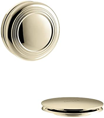 KOHLER K-T37396-AF PureFlo Cable Bath Drain Trim with Traditional Push Button Handle, Vibrant French Gold