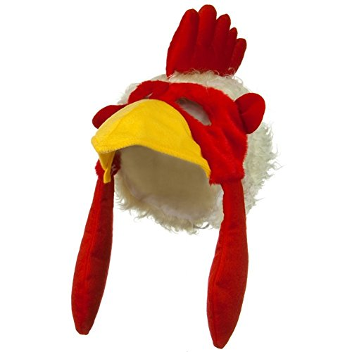 Chicken Head Costume (Chicken Rooster Plush Mask Hat by Jacobson Hat Company)