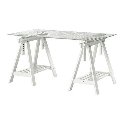 Amazoncom Ikea Table egg pattern glass top white trestle